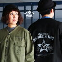 ジャケット シャツジャケット シャツ カーディガン ノーカラー 薄ハリ コットンツイル バック 星 スター プリント メンズ レディース アウター 40代 50代 OAR'S [オールズ]