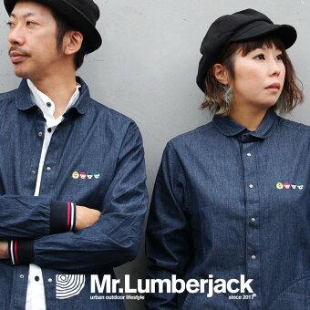 シャツ 長袖 CPO 丸襟 袖ラインリブ 切り替え 綿100% デニム マスクマン 刺繍 ポケット 刻印