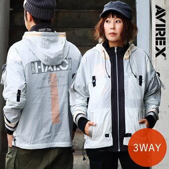 アヴィレックス(AVIREX) ジャケット ブルゾン 3WAY U.S.ARMY プリント スタンドネック 袖リブ グログランテープ 調節コード