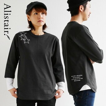 PATY  Tシャツ ティーシャツ 七分袖 7分袖 クルーネック 丸胴  三連星 星 スター メッセージ プリント