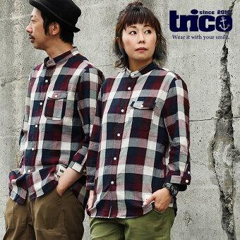 トリコ(TRICO) シャツ 七分袖 7分袖 バンドカラー 「配色 チェック柄 綿100% 薄手 楊柳風 ガーゼ」