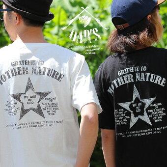 オールズ(OAR'S) Tシャツ ティーシャツ 半袖 ヘンリーネック 『MOTHER NATURE 星 スター プリント』 米綿 天竺 綿100%