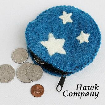 ホークカンパニー(HAWK COMPANY) コインケース ウールコインケース ミニポーチ ウール 小物 カジュアル ナチュラル  40代 50代