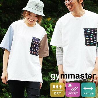 ジムマスター(gymmaster) Tシャツ 半袖 クルーネック ビッグT 大きい 総柄 フラップ付き 胸ポケット 吸水速乾 細菌 UVカット