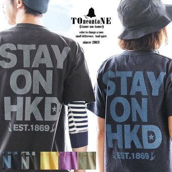 PATY Tシャツ 半袖 クルーネック 『配色 STAY ON HKD プリント 』 綿100% 5.6オンス ヘビーウェイト 丸胴