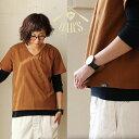 【全国一律送料324円】OAR'S[オールズ]半袖 Tシャツ Vネック 無地 カリフォルニア コットン ショート丈 袖口 ロールア…