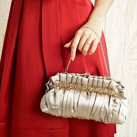 【レンタル】レンタル パーティーバッグ 【ギャザークラッチバッグ|ベージュ】レンタル バック レンタル クラッチ 鞄 カバン 結婚式 ネット レンタル 【RCP】 fy16REN07
