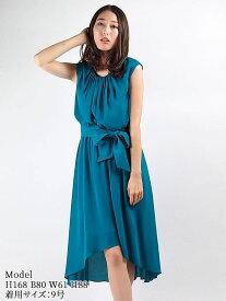 【レンタル】 レンタルドレス AMORA GRACE アモーラグレース ベルト付ドレープギャザードレス ブルーグリーン 9号 fy16REN07