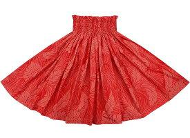 フラダンス衣装【丈とゴム本数が選べる】赤のパウスカート モンステラ・ヤシ総柄 spau-2022rd
