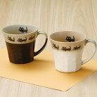 【美濃焼】カネ仁黒猫の散歩マグ【猫柄肉球猫雑貨コップマグカップ】