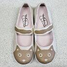 ネコモチーフ・ベルトカジュアルシューズ(ベージュ)【猫雑貨靴】
