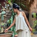 asana ヘンプコットン 三つ編み キャミソール<きなり>Yバック ノースリーブバッククロス タンクトップ 綿麻 麻混 エスニック アジアン ファッション リゾートコーデ ハワイアン ヨガウェア