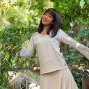 asana ヘンプコットン Vネック フレアースリーブ<きなり> エスニック アジアンファッション レディース リゾートコーデ