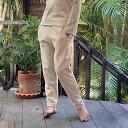 【NEW1】asana ヘンプコットン ふかふか スウェット パンツ<きなり>レディース メンズ 綿麻 麻混 エスニック アジアン リブパンツ ヨガウェア ジョガーパンツ タイパンツ
