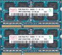hynix PC3-8500S (DDR3-1066) 2GB x 2枚組み 合計4GB 動作保証品【中古】