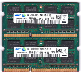 SAMSUNG PC3-10600S (DDR3-1333) 4GB x 2枚組み 合計8GB SO-DIMM 204pin ノートパソコン用メモリ 動作保証品【中古】