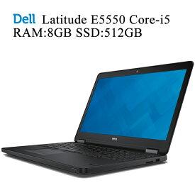 DELL Latitude E5550 第五世代Core-i5 RAM:8GB 新品SSD:512GB 正規版Office付き 無線内蔵 10キーモデル USB3.0 HDMI 洗練されたブラックデザイン Win10 中古ノートパソコン Windows10 Pro 64bit デル