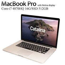 MacBook Pro Core i7-4870HQ 16GBメモリ SSD512GB 15.4インチ液晶 A1398 日本語キーボード仕様 Retinaディスプレイモデル Mid-2014 MacBookPro11,3 MacOS 10.15Catalina アップル 中古ノートパソコン 中古ノートPC Apple
