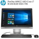 テレワークに最適 HP ProOne 600G2 AIO Core i7-6700 RAM:8GB 新品SSD:1TB 正規版Office付き Wi-Fi USB3.0 新品マウス…