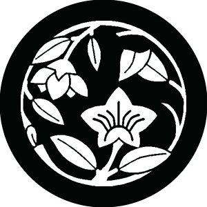 【送料無料】家紋シール 花桔梗枝丸 布タイプ6枚セット NS-0288