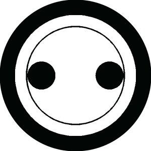 【送料無料】家紋シール 丸に分銅 丸型10cm or 四角10cm 2枚セット KS10-0748