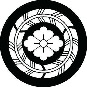 【送料無料】家紋シール 三つ矢の丸に花菱 丸型10cm or 四角10cm 2枚セット KS10-1559