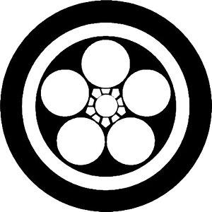 【送料無料】家紋シール 丸に梅鉢紋 丸型10cm or 四角10cm 2枚セット KS10-3626