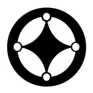 【送料無料】 家紋シール 星七宝紋 布タイプ 直径40mm 6枚セット NS4T-012