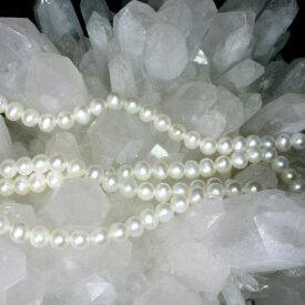 【壊れにくい高品質タイプ】★連売り★丸珠 淡水パール 白色[Pearl] 約6mm 《kos-pearrmar06wt00》[ツシレ]【クリスタル神戸】