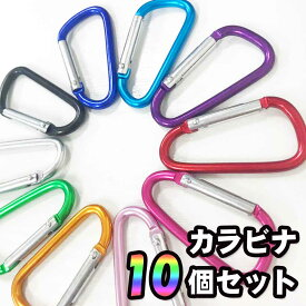 【送料無料】カラビナ10個セット 多用途 D形 カラビナ バックル スプリング スナップクリップ フック キーホルダー キーリング 収納 袋 ぶら下げ 10色選択