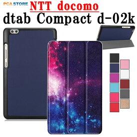 【送料無料】NTT docomo dtab Compact d-02kタブレット専用ケースマグネット開閉式 スタンド機能付き 三つ折 カバー 薄型 軽量型 スタンド機能 高品質PUレザーケースCompact d-02K 全11色