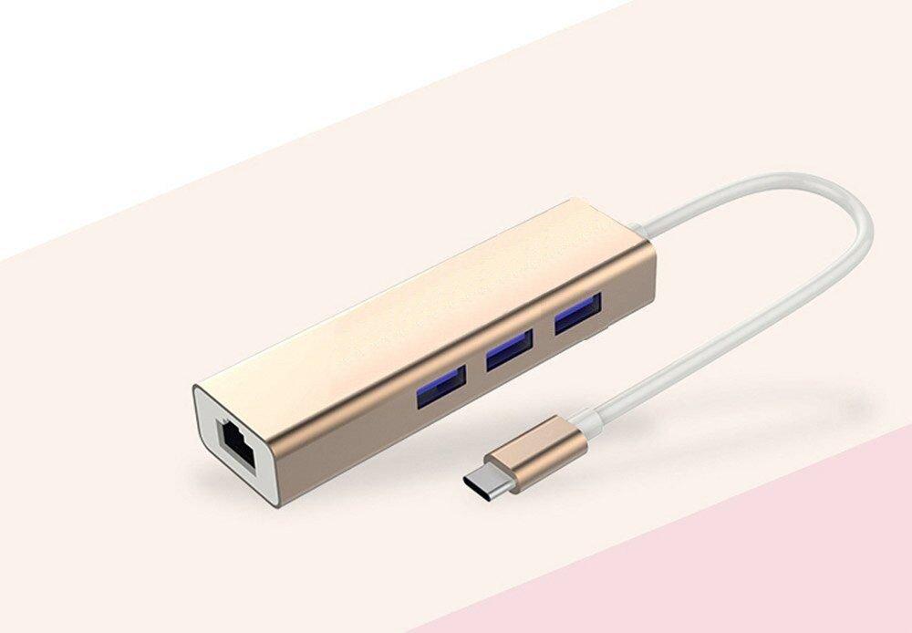【送料無料】Type-C to USB3.0 USB type C ハブ USB3.0 USBポートR45有線LANアダプター付き 1000 Mbpsの高速伝送 12インチMacBook ChromeBook Pixel Smart-phone Nexus 6 Tabletなど対応