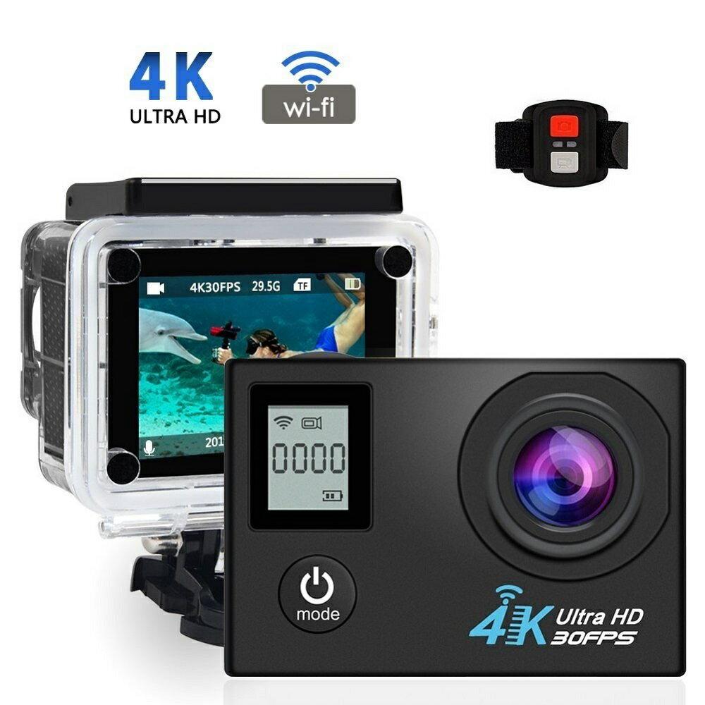 【送料無料】 スポーツ カメラ 4K WIFI搭載 アクションカメラ 液晶ディスプレイ HD 170度広角レンズ 30m 防水 極限運動記録 1200万画素 2.0インチリモコンバイクや自転車/カート/車に取り付け可 空撮、水泳、スポーツに最適