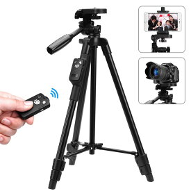 【送料無料】 スマホ三脚 ビデオカメラ 三脚 VCT5208 一眼レフカメラ 軽量 ミニ 3WAY雲台 4段階伸縮 360回転 Android対応 コンパクト アルミ製 Bluetoothリモコン 収納袋付き 旅行用 持ち運びに便利 収納後サイズ45cm、最長1.25m