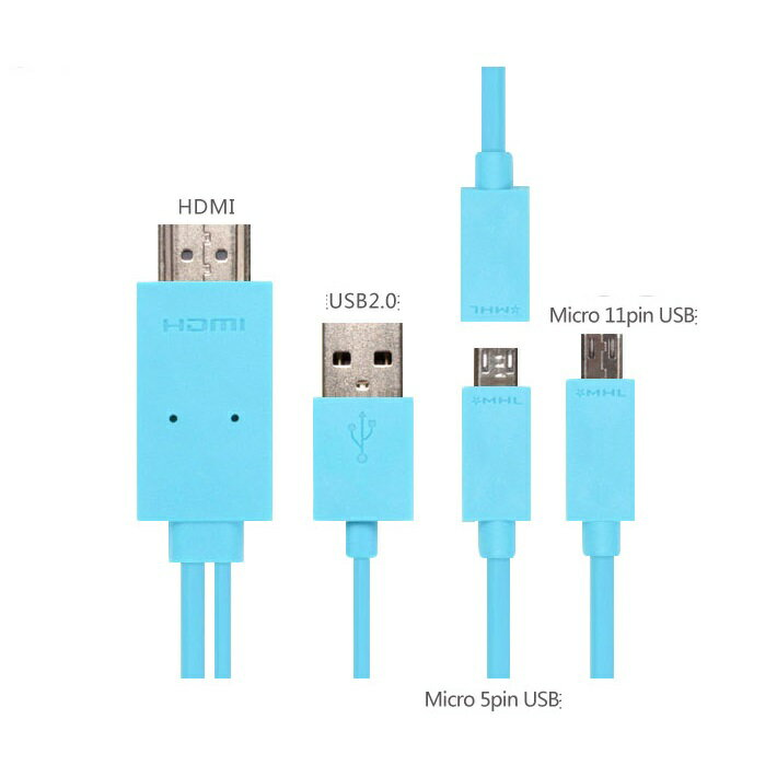 【MHL 全スマホ対応】 MicroUSB to HDMI /USB 変換ケーブル 2m☆6色選択可能(For galaxyS5/S4/S3/S2/NOTE3/2/NOTE/HTC/Xperia/AQUOS Phone/ Arrows/REGZA Phoneなど)【P25Apr15】
