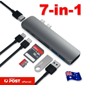 """【送料無料】Type-C 7 in 1 USBハブ マルチポートアダプタ Type-C to HDMI 変換アダプタ 4K高解像度 Thunderbolt 3(USB-C)ポート+USB 3.0ポート/SD/TFカードリーター For MacBook Pro 15"""" / 13""""に適用 超軽アルミ合金"""
