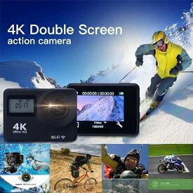 【送料無料】4K Wi-Fi アクションカム スポーツ カメラ 高感度 ツインディスプレイ 30メートル防水ハウジング 170度ワイド広角レンズ スローモーション撮影 タイムラプス動画 静止画高速バースト連写モード 1200万画素高解像度 Android iPhone対応 ☆IP68防水認証済み