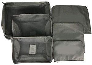 旅行用 収納ポーチ 6点セット トラベルポーチ グレー 小分け容器 整理 袋 バッグ ケース 衣類収納 小物収納 旅行 tecc-ryokopon-gy