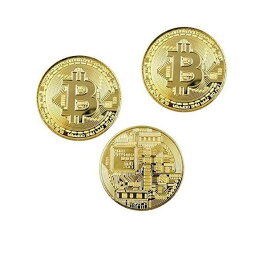 ビットコイン 3枚セット 黄金に輝く 金運 強運 ゴルフマーカー bitcoin レプリカ 景品 仮想通貨 雑貨 お守り プレゼント TEC-BITCOIND