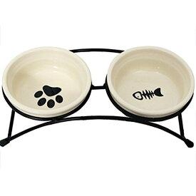 【送料無料・一部地域除く】愛犬 愛猫の食事に♪ フードスタンド付き ペット フードボウル 2個セット ドッグ 犬 猫 イヌ 容器 えさ 給水器 給餌器 フード 容器 食器 スタンド DFS-WS533