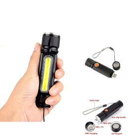 懐中電灯 led 防災 強力 超小型 COB ライト 明るさ380ルーメン 明るい 作業灯 USB 充電式 防水 防災 伸縮ズーム TEC-T6COBD