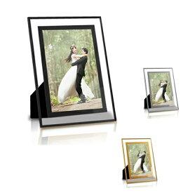写真立て A4サイズ インテリア 贈り物 プレゼント 思い出 お祝い ガラス 額縁 フォトフレーム 透明 写真 横縦 ガラス製 壁掛 tecc-gphoto-a4