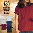 BBL Tシャツ ティーシャツ 半袖Tシャツ カットソー インナー 半袖 無地 無地Tシャツ 綿100 メンズ Vネック ブイネック 白 黒 青 ネイビー 赤 ルード ストリート ファッション 大きい