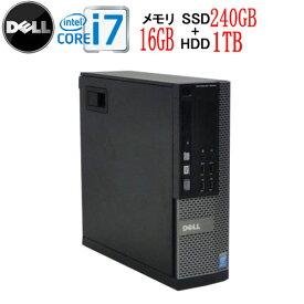DELL 7020SF Core i7 4770 大容量メモリ16GB DVDマルチ SSD新品256GB +HDD新品1TB Windows10 Pro 64bit 0006a-marR 中古 中古パソコン デスクトップ