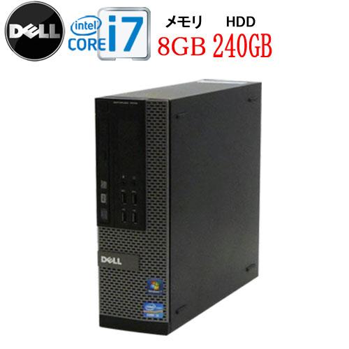 DELL 9010SF Core i7-3770 3.4GHz メモリ8GB 高速SSD256GB DVDマルチ WPS Office付き Windows10 Home 64bit MAR USB3.0対応 中古 中古パソコン デスクトップ 0032a-2R