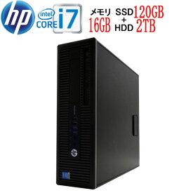 HP 600 G1 SF Core i7 4790(3.6GHz) 大容量メモリ16GB 高速SSD新品120GB + HDD新品2TB DVDマルチ Windows10 Pro 64bit WPS Office付き USB3.0対応 中古 中古パソコン デスクトップ 1623a8-mar-R