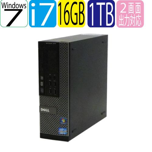 エントリーしてお買い物するとポイント最大9倍!5/25(土)10時から 爆速大容量メモリ16GB DELL 7010SF Core i7-3770(3.4GHz) HDD1TB(1000GB) DVDマルチドライブ 無線wifi機能付 64Bit Windows7Pro R-d-378 USB3.0対応 中古 中古パソコン デスクトップ