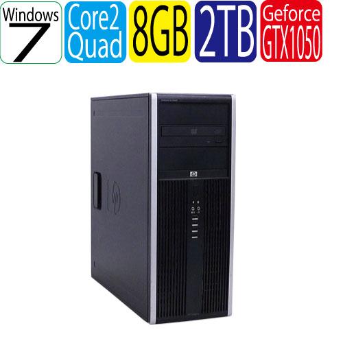 HP 8000 MT Core2 Quad Q9650(3.0) メモリ8GB HDD(新品)2TB DVDマルチ Geforce GTX1050 Windows7Pro 64Bit R-dg-132 中古ゲーミングpc 中古デスクトップ