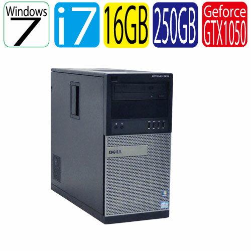 エントリーしてお買い物するとポイント最大9倍!5/25(土)10時から DELL Optiplex 7010MT Core i7-3770 メモリ16GB HDD250GB DVD-Multi USB3.0対応 GeforceGTX1050 64Bit Win7Pro ゲーミングpc 中古 デスクトップ R-dg-170ゲーミングpc 中古デスクトップ