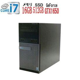 DELL Optiplex 9020MT Core i7 4770(3.4GHz) メモリ16GB DVDマルチ 高速新品SSD512GB GeForce GTX1050Ti HDMI Windows10 Pro 64bit 中古 中古パソコン デスクトップ ゲーミングpc 0794xR